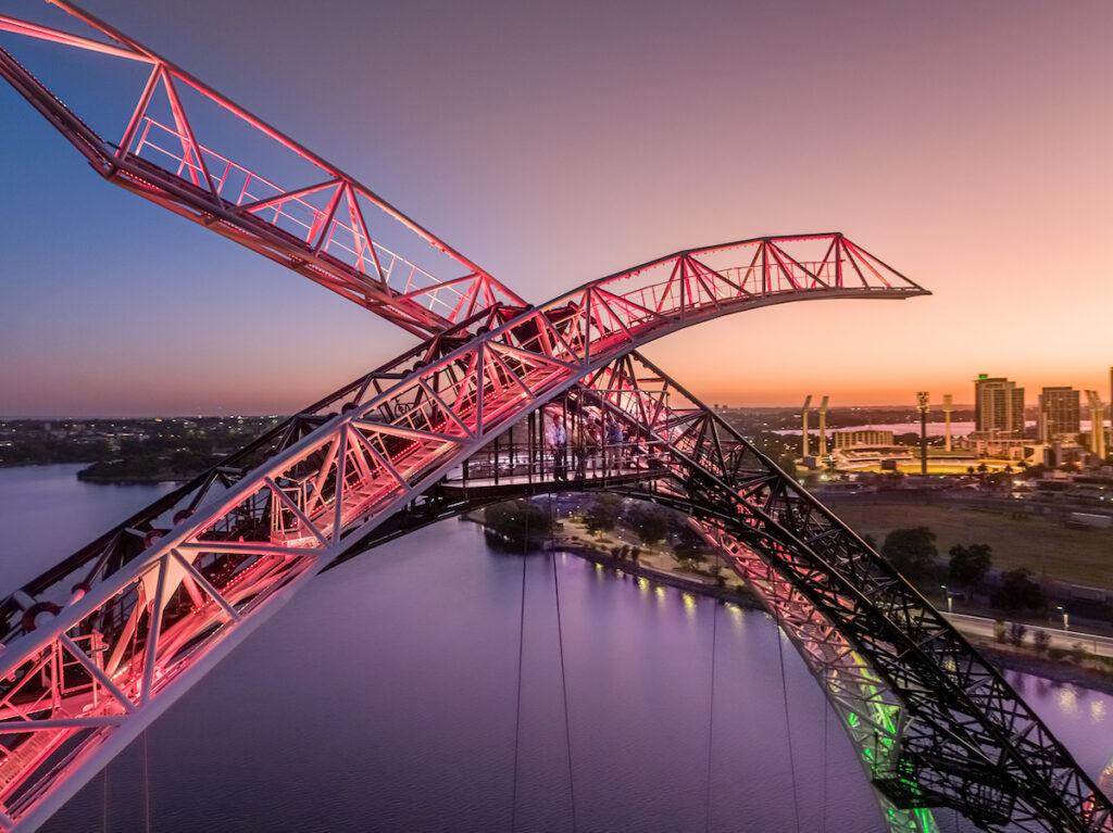 Matagarup Bridge Zip+Climb, Perth, Australia.