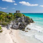 Mayan ruins on the coast of Tulum, Mexico.