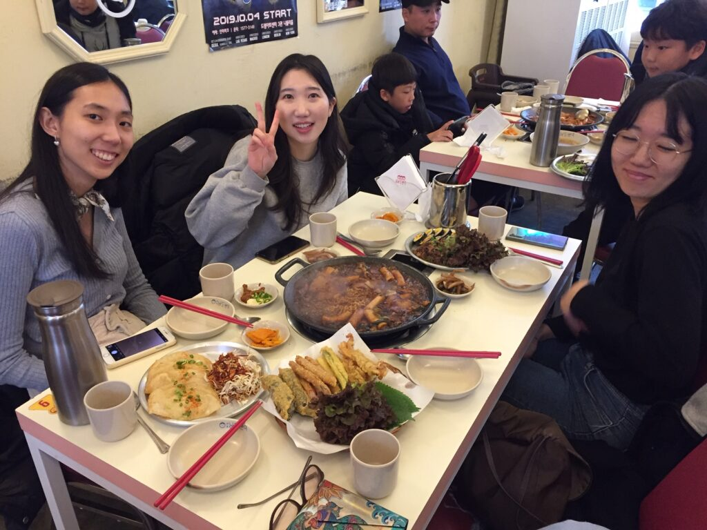 Meal after a free walking tour in Seoul.