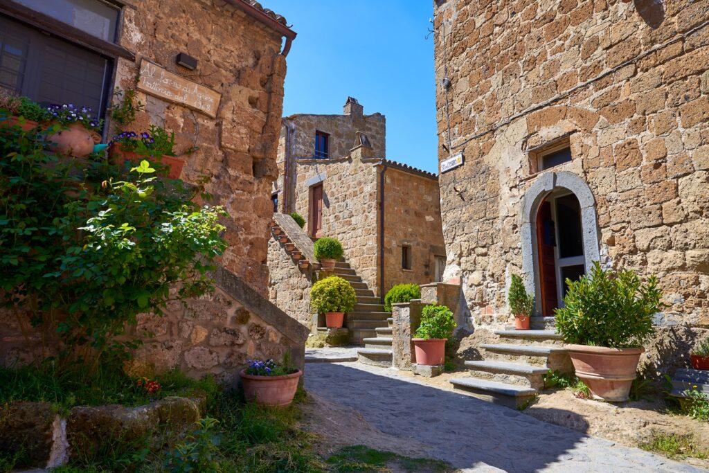 Medieval houses in Civita di Bagnoregio.