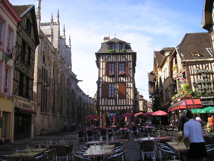 Medieval houses surround public square in Troyes, France