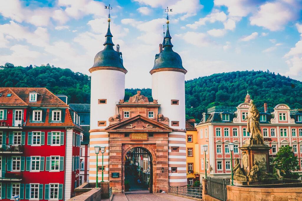 Medieval ramparts on a bridge in Heidelberg.