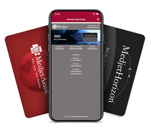 MedjetAssist and MedjetHorizon cards with cell phone app