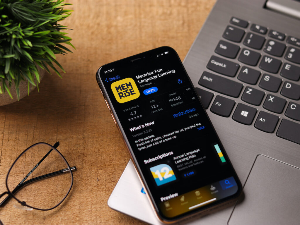 Memrise app on smartphone.