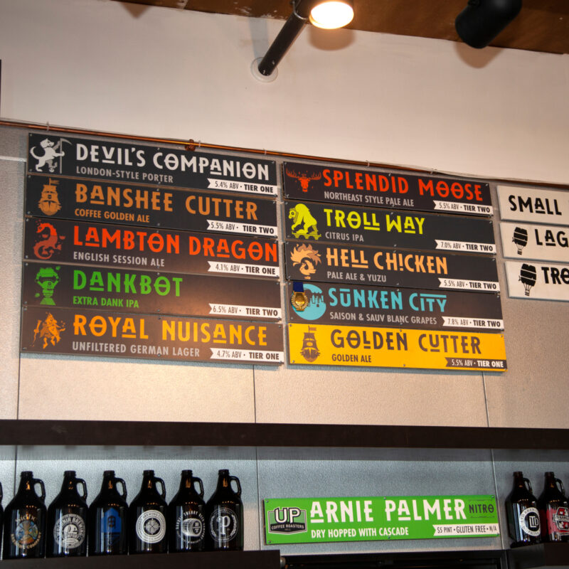 Menu of Beers inside the Insight Brewing taproom.