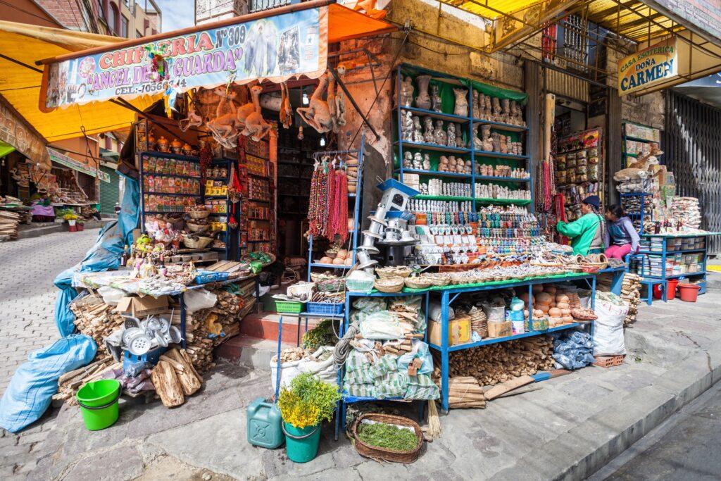 Mercado de las Brujas in La Paz, Bolivia.