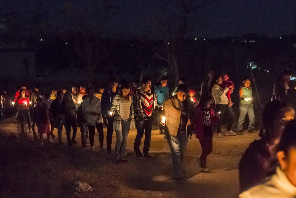 Mexican children enjoying posada parties.