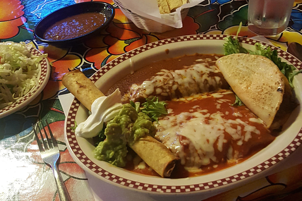 Mexican cuisine from the Red Iguana in Salt Lake City, Utah.
