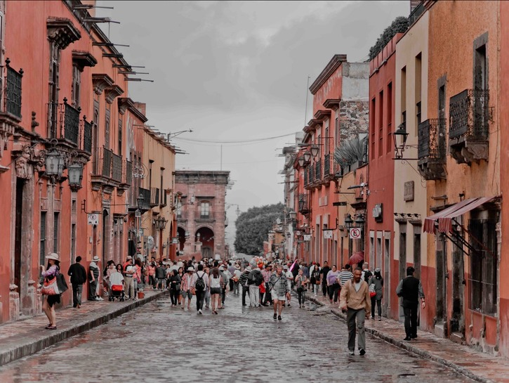 Mexican street with tourists.