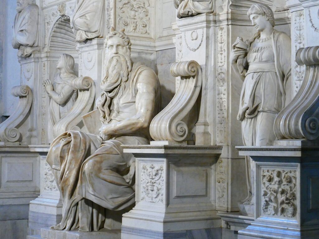 Michelangelo's sculpture of Moses in the Basilica of St. Peter.