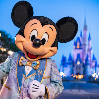 Mickey Mouse all dressed up for Disney's 50th Anniversary Celebration.