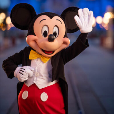 Mickey Mouse at Disneyland.