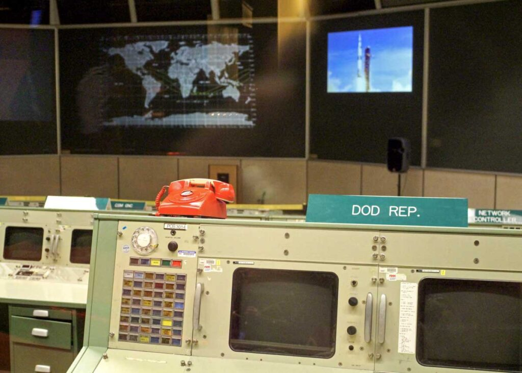 Mission Control at the Johnson Space Center in Houston.