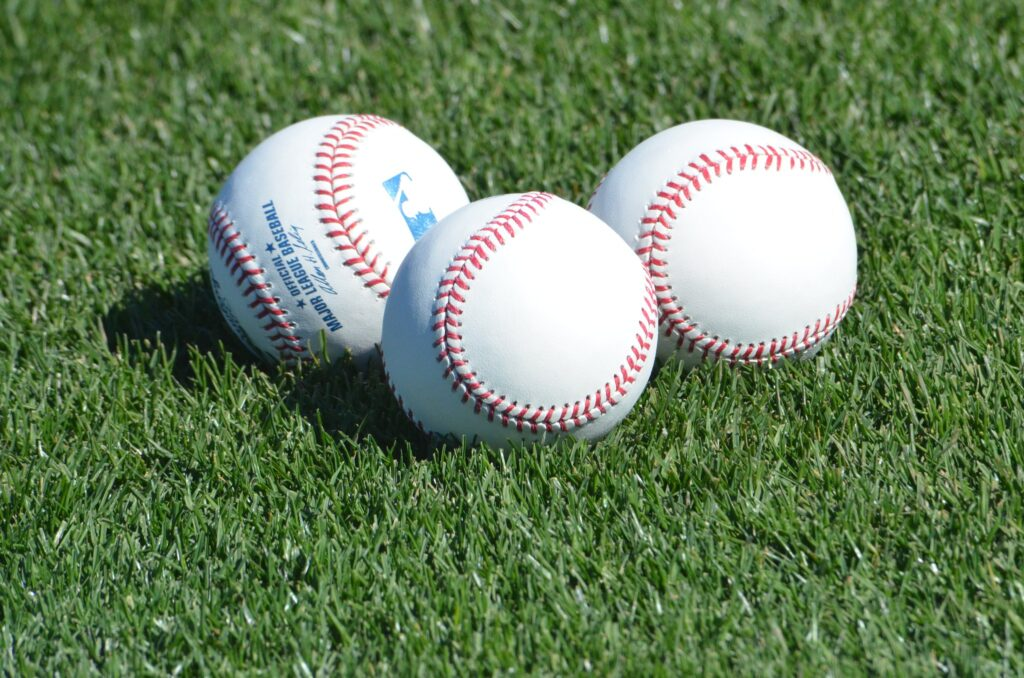 MLB baseballs at a spring training game.
