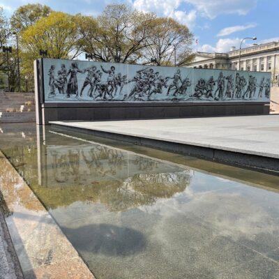 Mockup of Soldiers Journey Bronze Sculpture.