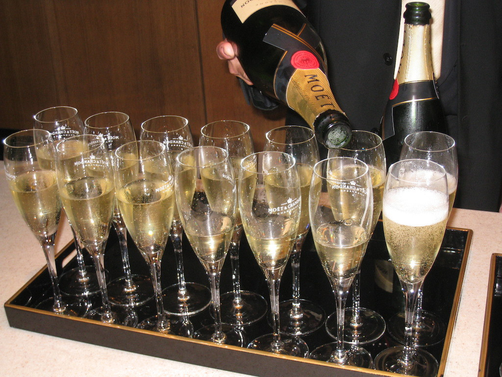 Moet champagne, a favorite of the writers.