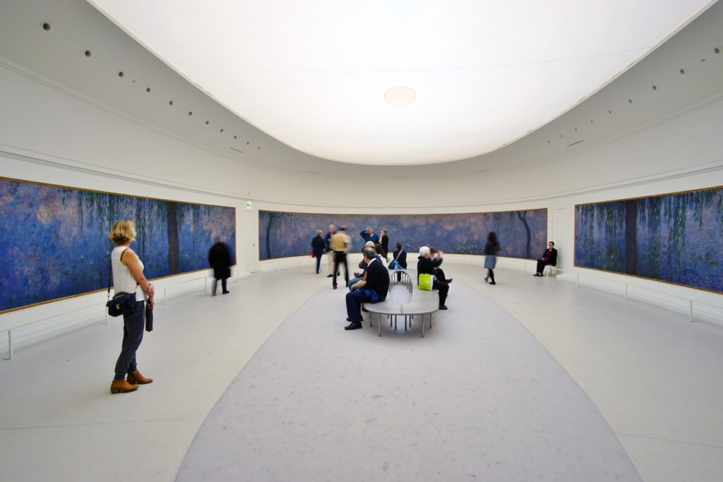 Monet's Water Lilies on display at the Orangerie.