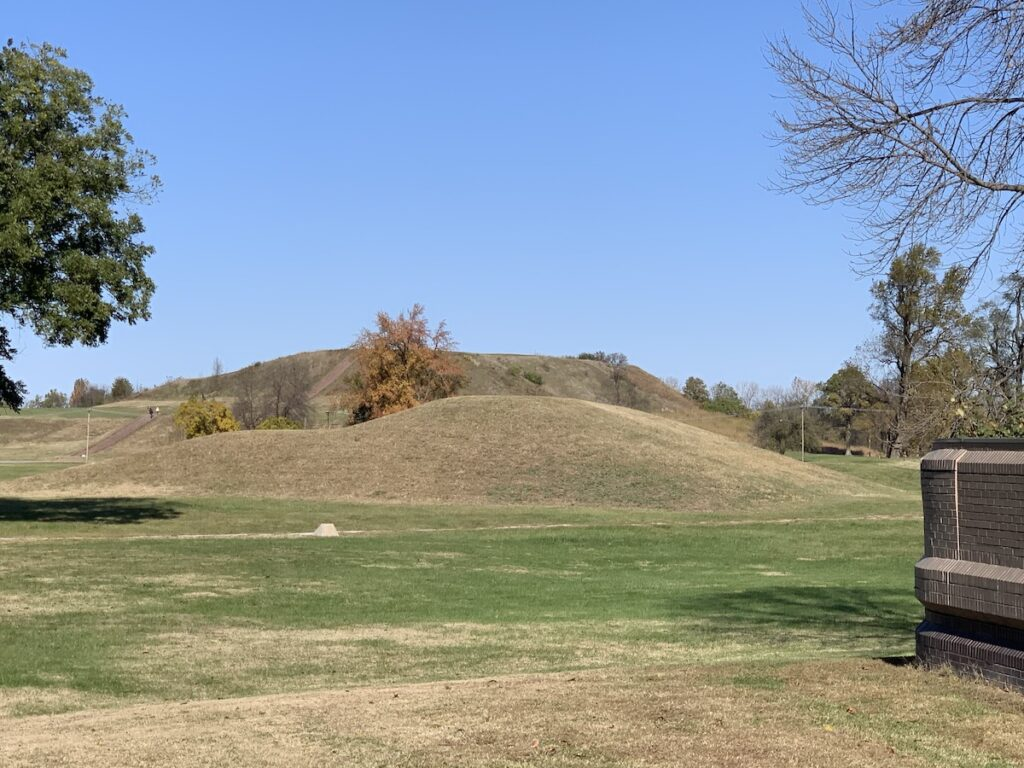 Monks Mound, as seen from the Cahokia Mounds Visitor Center.