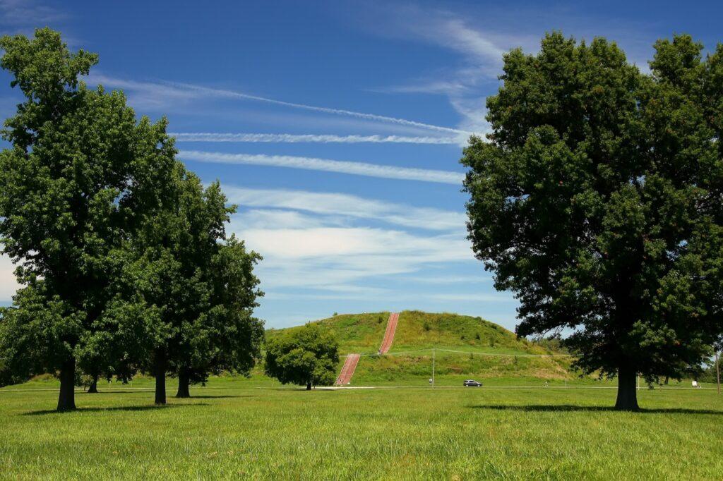 Monks Mound at Cahokia Mounds.