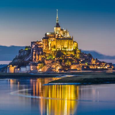 Mont-Saint-Michel, a castle in Normandy, France.