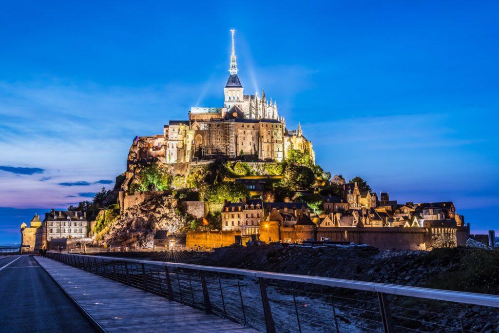 Mont-Saint-Michel at nighttime.