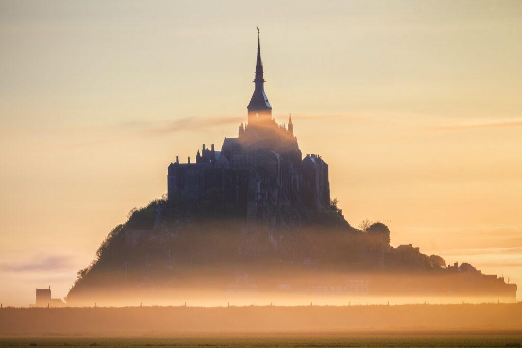 Mont-Saint-Michel in the morning fog.