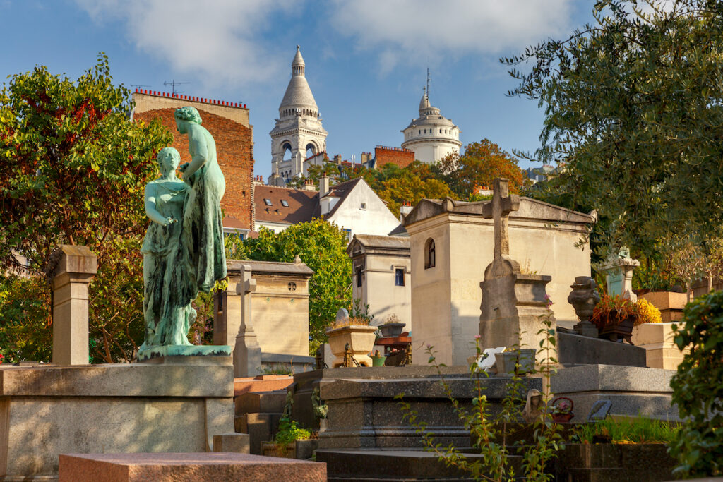 Montmartre Cemetery in Paris, France.