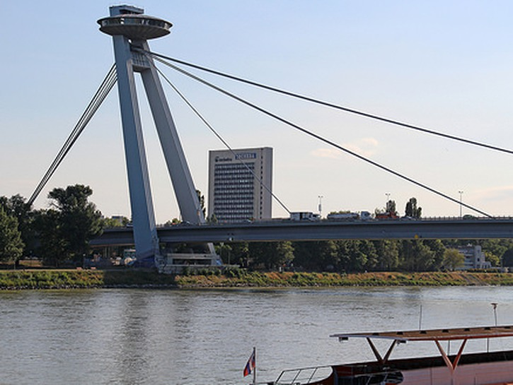 Most SNP Bridge in Bratislava with the Danube River in the foreground