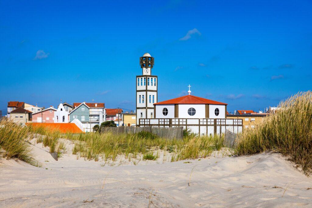 Mother Church of Costa Nova on the beach.