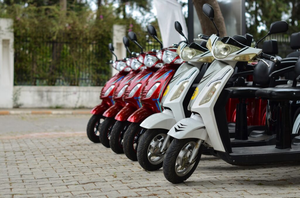 Motorbikes for rent.
