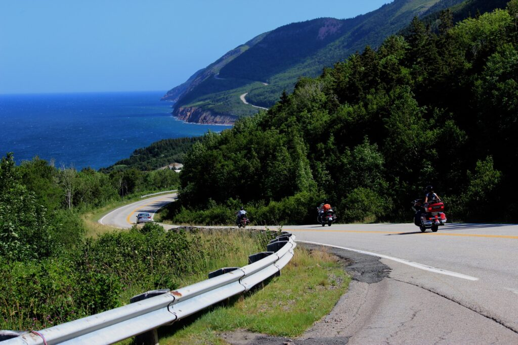 Motorcycles on the Cabot Trail.