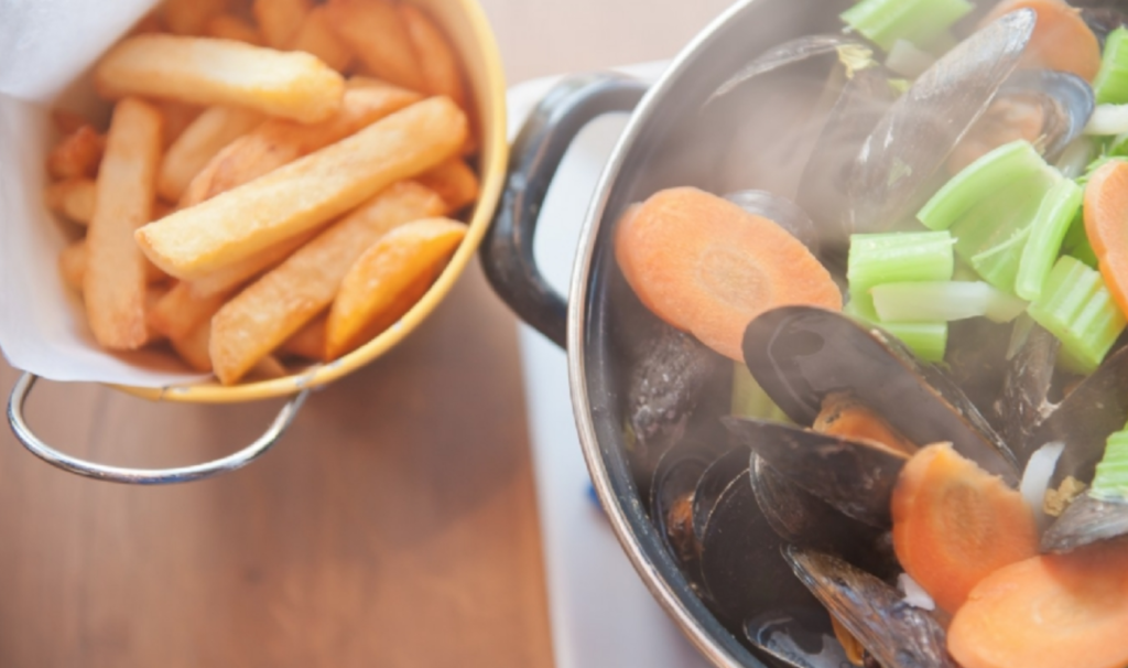 Moules frites from Poules Moules in Bruges.