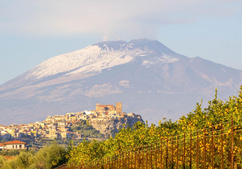 Mount Etna, a volcano in Sicily, Italy.
