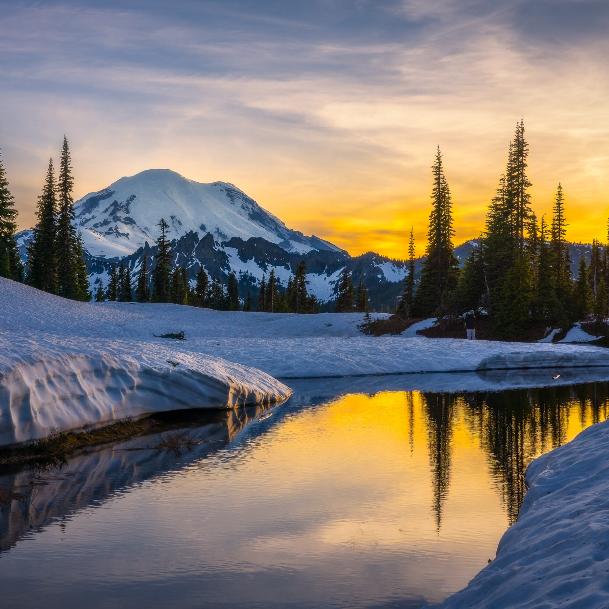 Mount Rainier National Park during winter time.