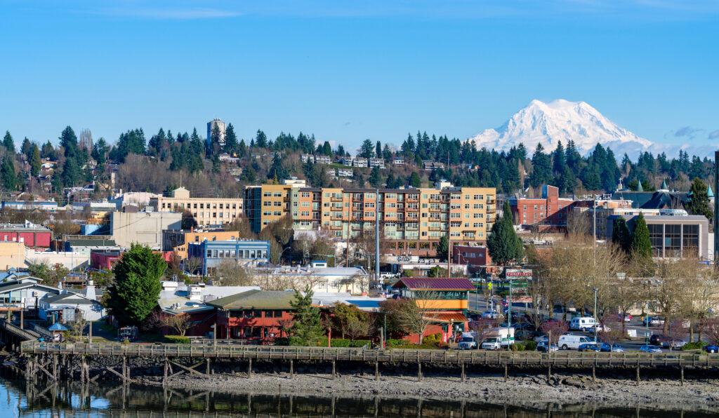 Mount Rainier over Olympia, Washington.