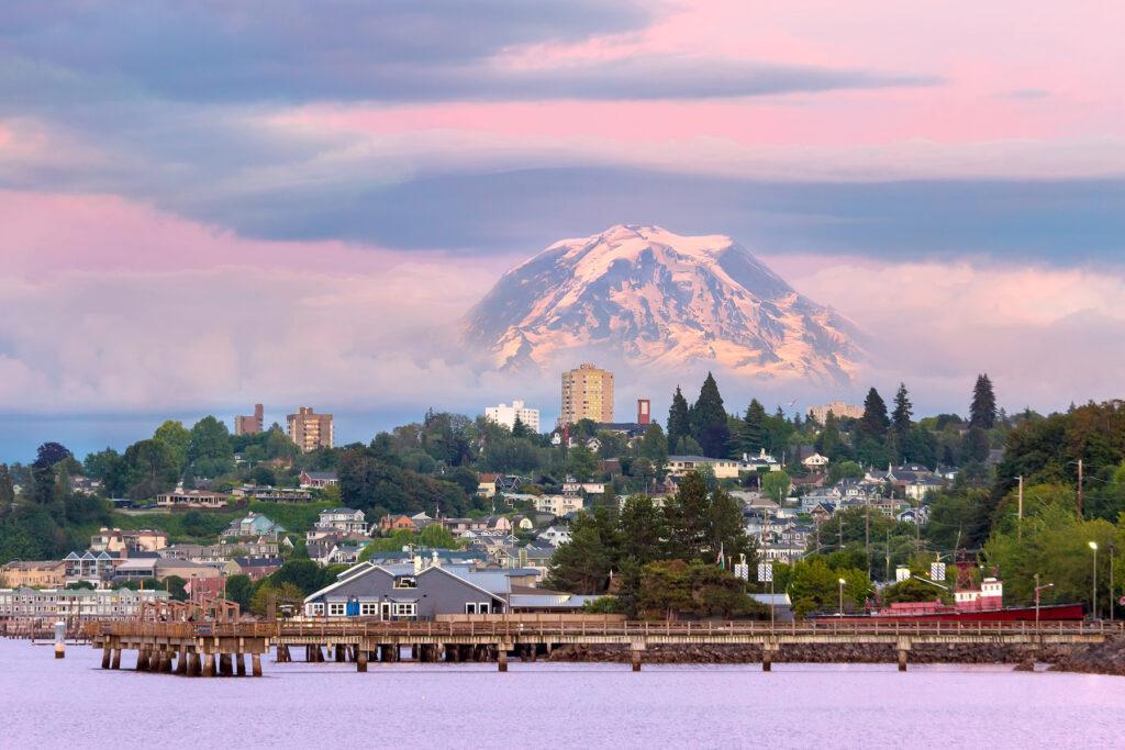 Mount Rainier over Tacoma, Washington.