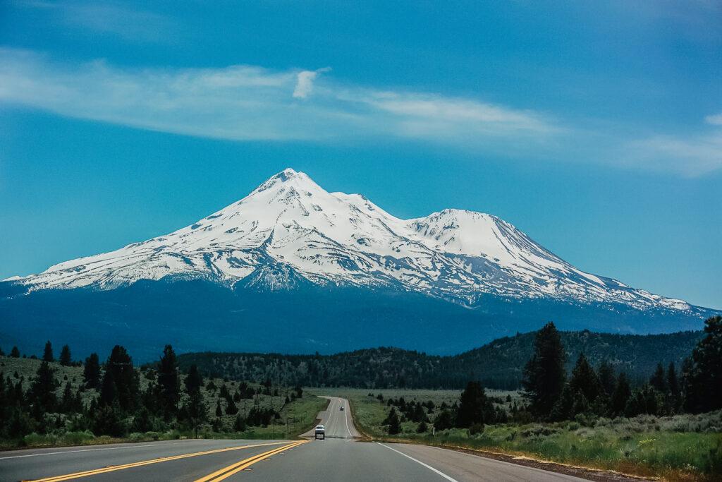 Mount Shasta in the Cascades.