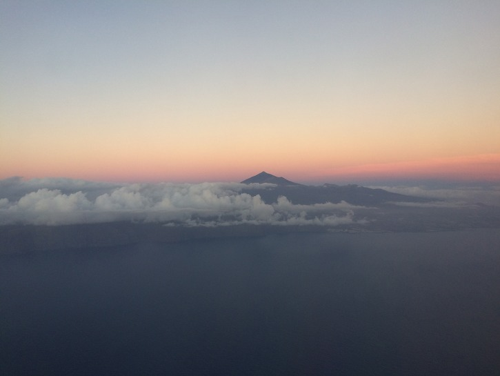 Mount Teide at sunset with clouds.
