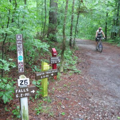 Mountain biking in Alabama's Oak Mountain State Park.