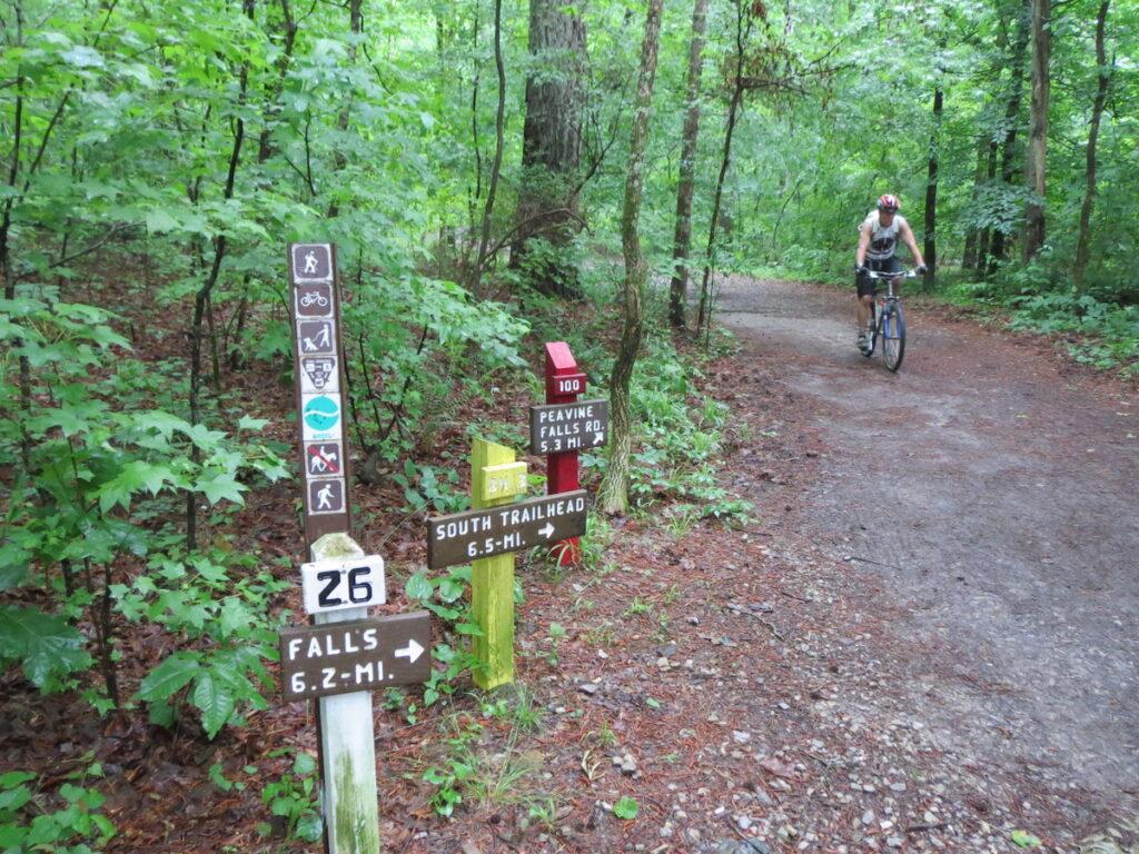 Mountain biking in Oak Mountain State Park, Alabama.