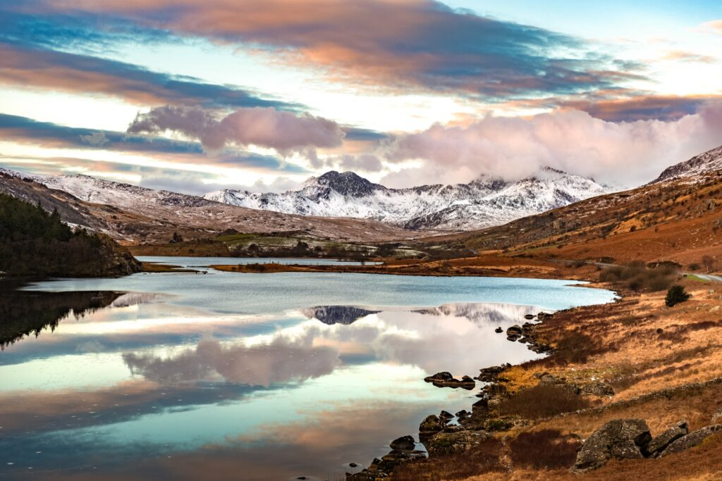 Mountains in Snowdonia during winter.
