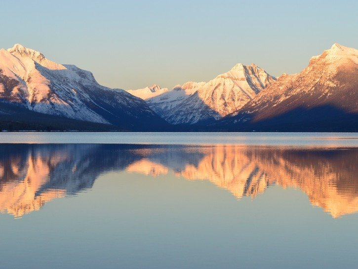 Mountains reflected in lake
