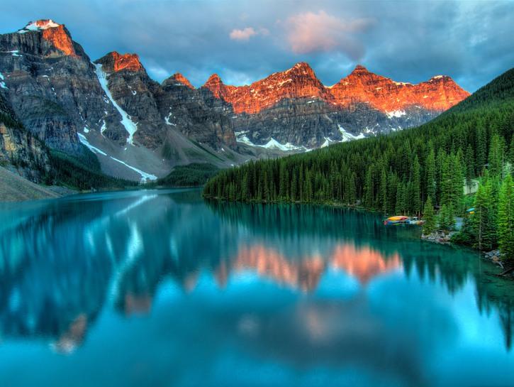 Mountains reflected in lake, Banff, Alberta, Canada