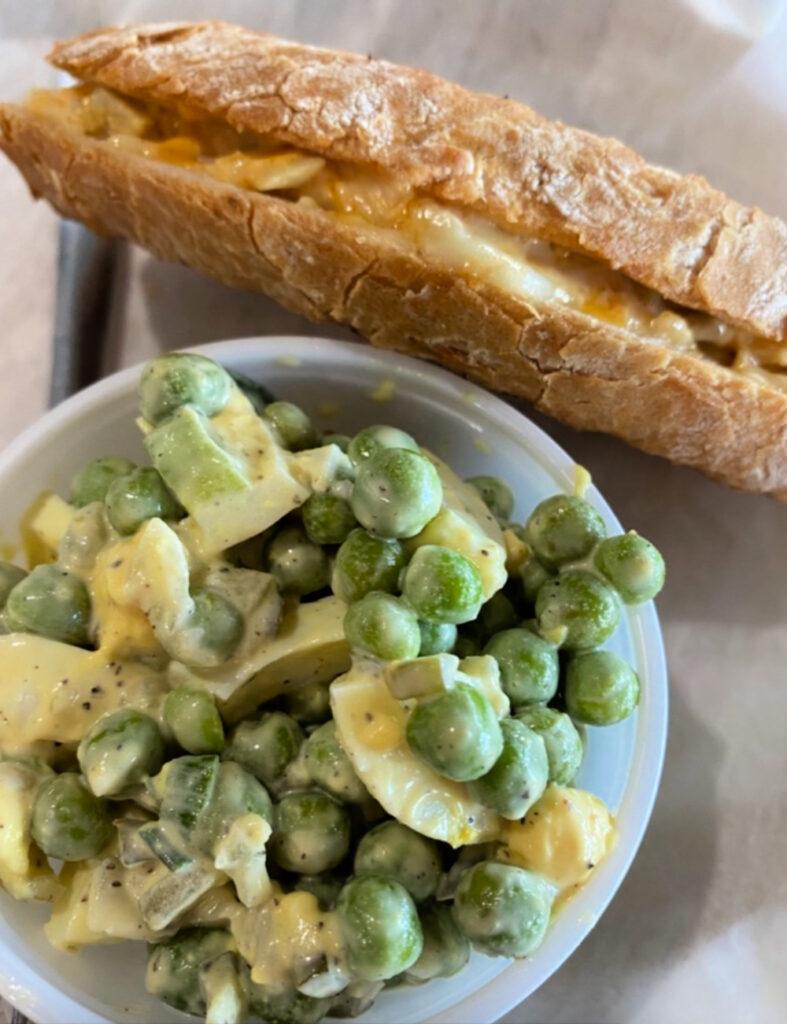Mousetrap panini, English pea salad, Nutmeg's Cafe.