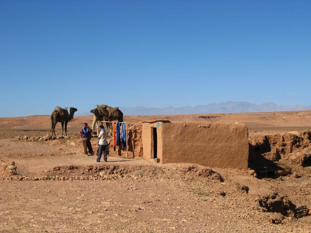 Mud huts at a Berber camp in the Sahara.