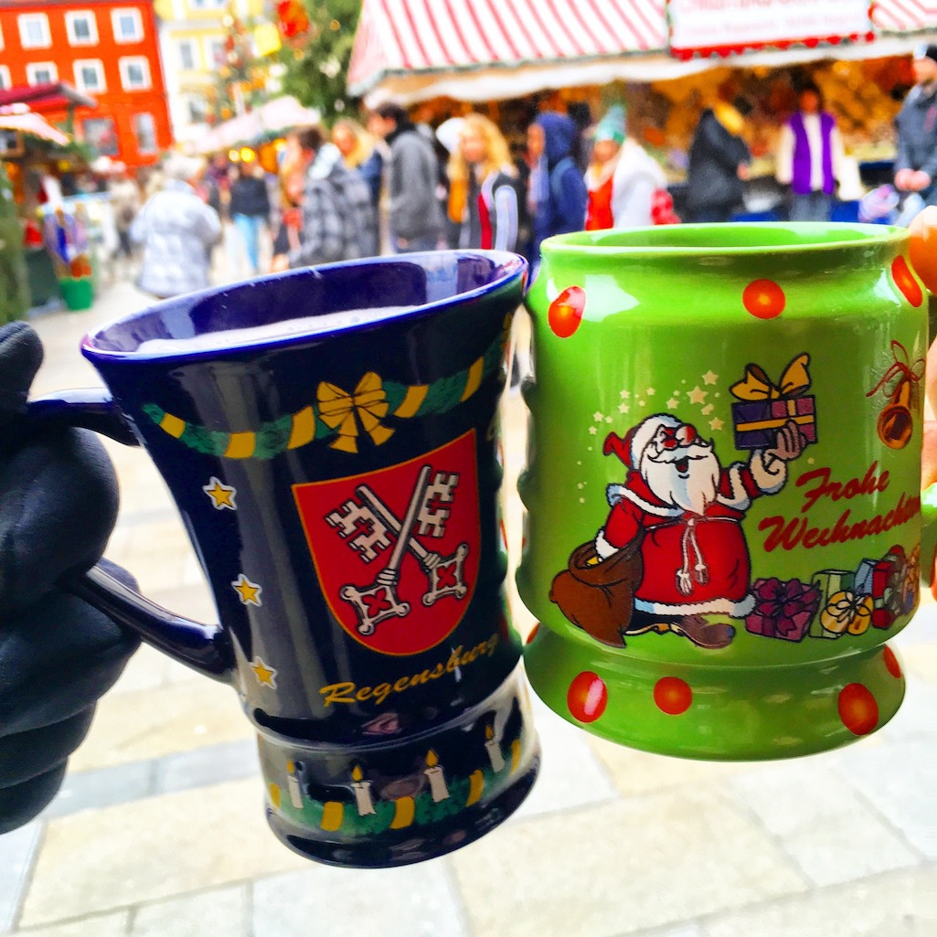 Mugs of Gluhwein, a seasonal drink from Germany.