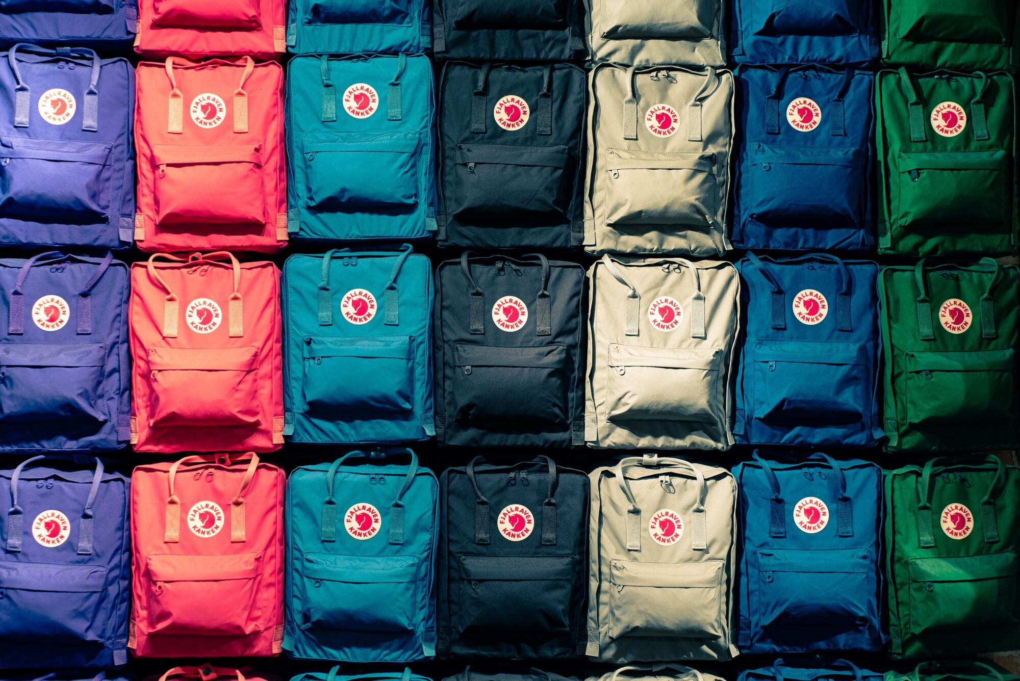 multicolored backpacks