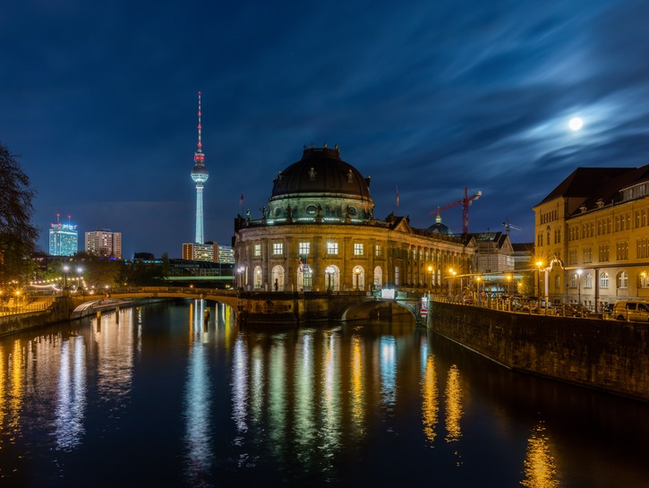 Museum Island, Berlin, at night seen from the river.