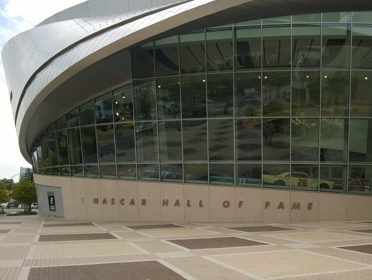NASCAR Hall of Fame, front window and sign, Charlotte, NC