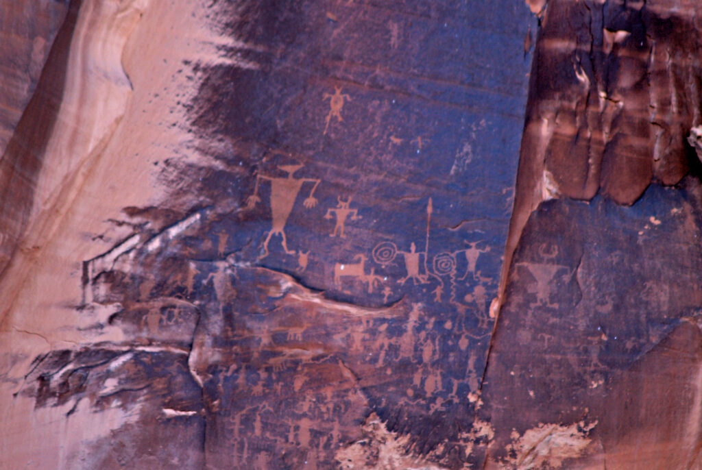 Native American rock art panels in Canyonlands National Park.